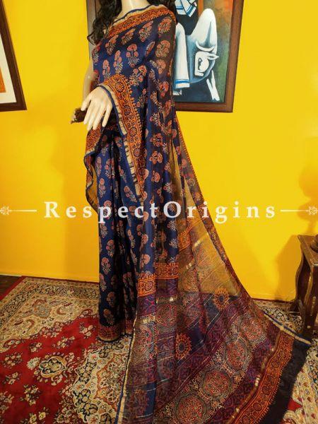 Chanderi Silk Saree with Zari Border in Ajrakh Color Block Print; Blouse included.; RespectOrigins.com