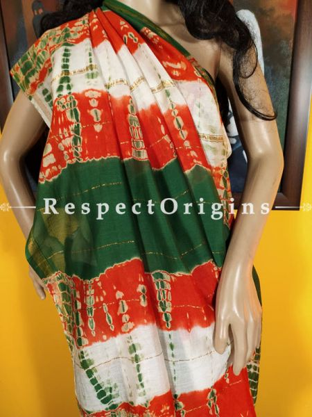 Leheriya Green Orange and White Chanderi Silk Saree with Zari Border ; Blouse included.; RespectOrigins.com