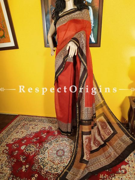Chanderi Silk Saree with Zari Border in Brick Red and Brown; Blouse included.; RespectOrigins.com