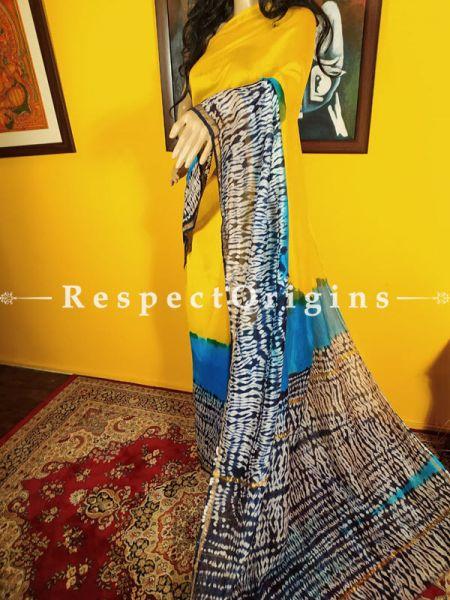 Shibori Chanderi Silk Saree with Zari Border in Yellow and Blues; Blouse included.; RespectOrigins.com