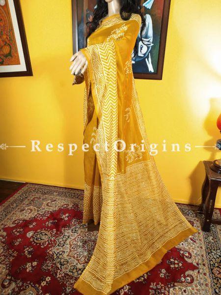 Chanderi Silk Saree with Zari Border in Yellow; Blouse included.; RespectOrigins.com