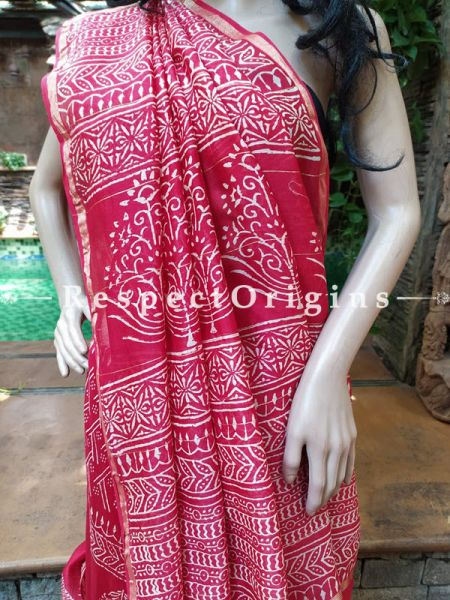 Red Chanderi Silk Saree with Sangneri Block Prints; Blouse included; RespectOrigins.com