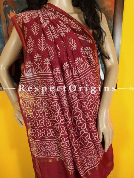 Maroon Chanderi Silk Saree with Zari Border; Blouse included.; RespectOrigins.com