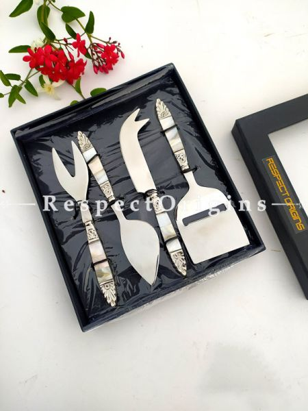 Mother Of Pearl Style Handiwork Designer Cheese Slicer Charcuterie Board Entertaining Gift Set; 6.5 Inches; RespectOrigins.com