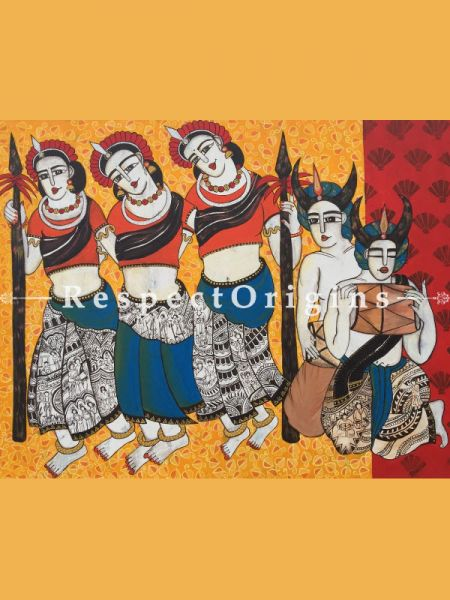 Horizontal Art Painting of Chhattisgarhi Tribal Dancer ;Acrylic on Canvas; 48in X 36in at RespectOrigins.com