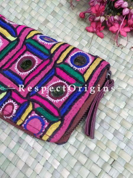 Interesting Passport Holder Zipper Pouch Handcrafted with Tribal Mirrorwork; 8 X 4 Inches; RespectOrigins.com