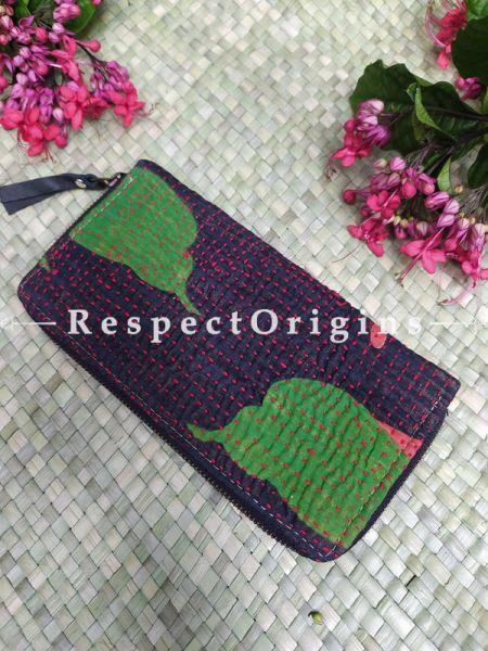 Lovely Passport Holder Zipper Pouch Handcrafted with Tribal Mirrorwork; 8 X 4 Inches; RespectOrigins.com