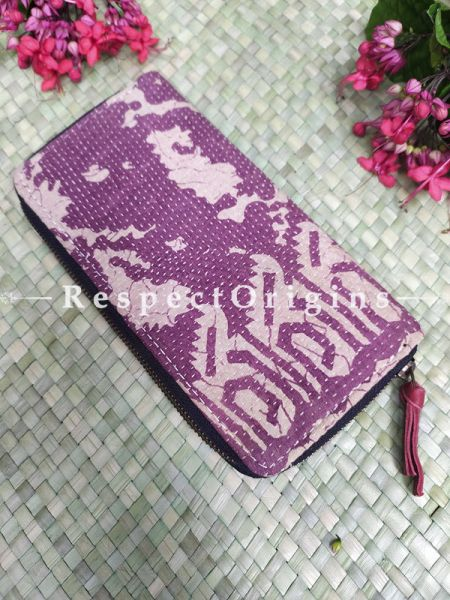 Pretty Passport Holder Zipper Pouch Handcrafted with Tribal Mirrorwork; 8 X 4 Inches; RespectOrigins.com