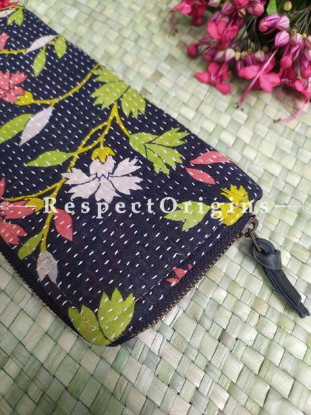 Attractive Passport Holder Zipper Pouch Handcrafted with Tribal Mirrorwork; 8 X 4 Inches; RespectOrigins.com
