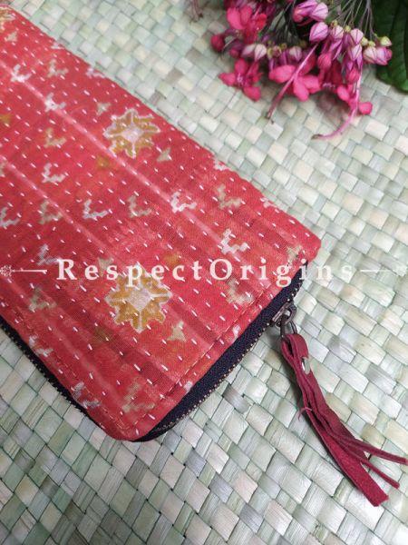 Stylish Passport Holder Zipper Pouch Handcrafted with Tribal Mirrorwork; 8 X 4 Inches; RespectOrigins.com