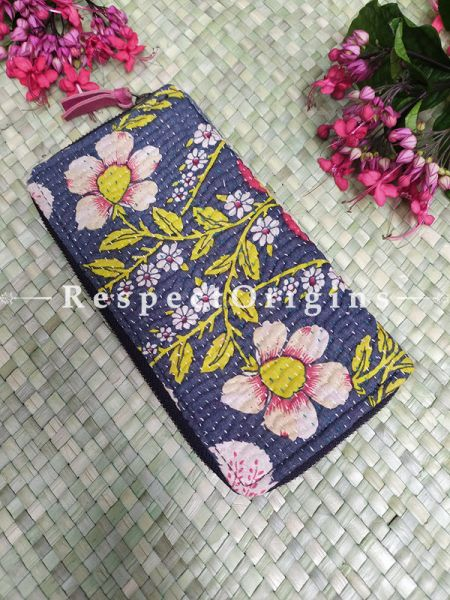 Elegant Passport Holder Zipper Pouch Handcrafted with Tribal Mirrorwork; 8 X 4 Inches; RespectOrigins.com