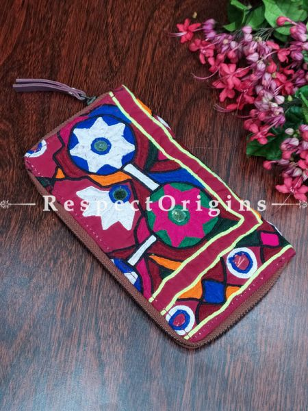 Classy Passport Holder Zipper Pouch Handcrafted with Tribal Mirrorwork; 8 X 4 Inches; RespectOrigins.com
