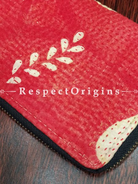 Marvelous Passport Holder Zipper Pouch Handcrafted with Tribal Mirrorwork; 8 X 4 Inches; RespectOrigins.com