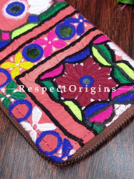 Splendid Passport Holder Zipper Pouch Handcrafted with Tribal Mirrorwork; 8 X 4 Inches; RespectOrigins.com