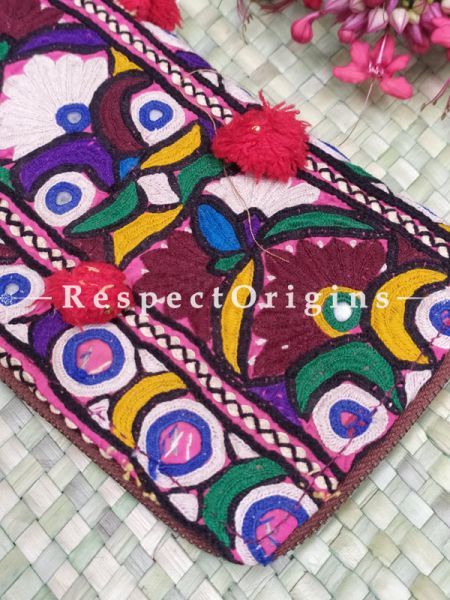 Wonderful Passport Holder Zipper Pouch Handcrafted with Tribal Mirrorwork; 8 X 4 Inches; RespectOrigins.com