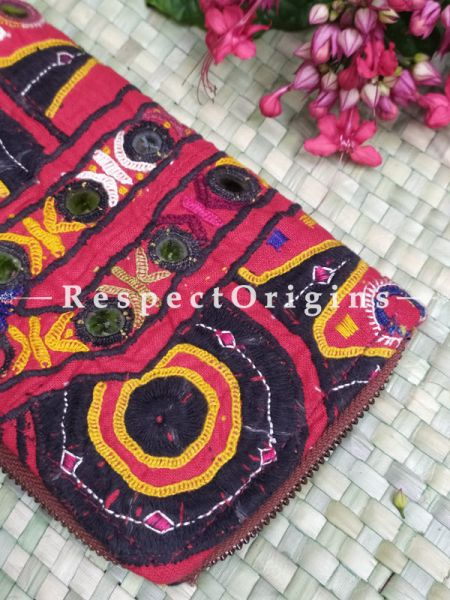 Stunning Passport Holder Zipper Pouch Handcrafted with Tribal Mirrorwork; 8 X 4 Inches; RespectOrigins.com