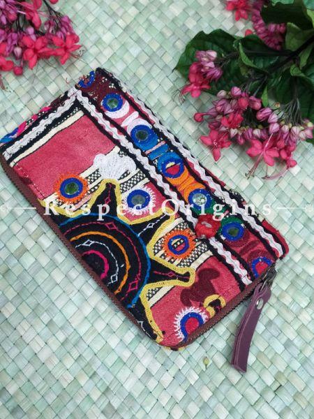Gorgeous Passport Holder Zipper Pouch Handcrafted with Tribal Mirrorwork; 8 X 4 Inches; RespectOrigins.com