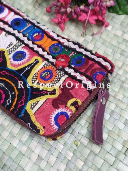 Gorgeous Passport Holder Zipper Pouch Handcrafted with Tribal Mirrorwork; 8 X 4 Inches; RespectOrigins.com