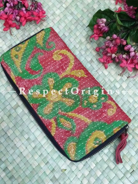 Delightful Passport Holder Zipper Pouch Handcrafted with Tribal Mirrorwork; 8 X 4 Inches; RespectOrigins.com