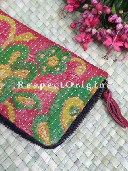 Delightful Passport Holder Zipper Pouch Handcrafted with Tribal Mirrorwork; 8 X 4 Inches; RespectOrigins.com