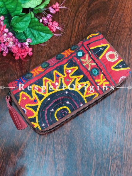 Fascinating Passport Holder Zipper Pouch Handcrafted with Tribal Mirrorwork; 8 X 4 Inches; RespectOrigins.com