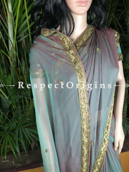 Buy Chiffon Saree; Zardozi Border at RespectOrigins.com