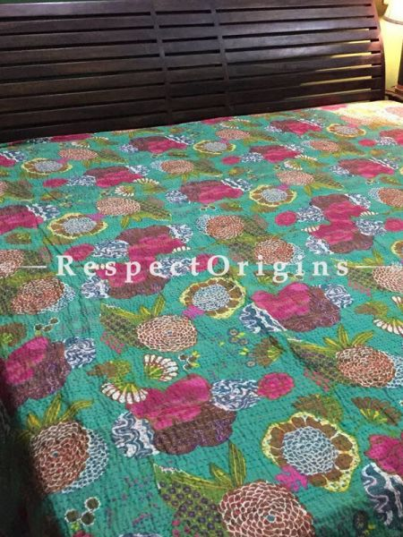 Buy Handwoven Floral Multi-coloured; Cotton Bedspread; Pillow Cases included; 90x108 in At RespectOrigins.com