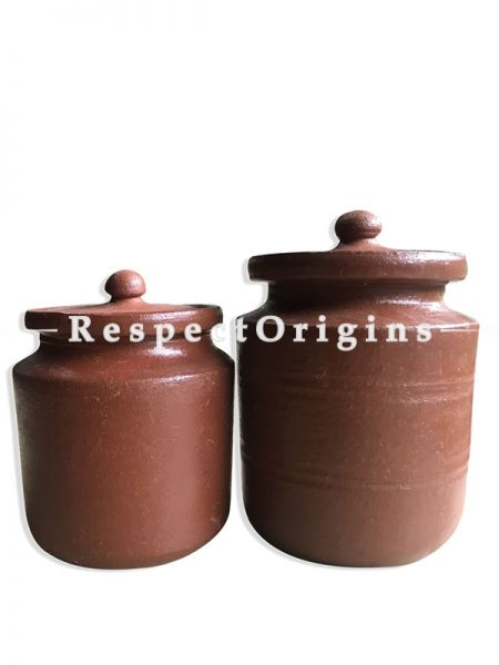 Toxic-Free & Hand-Seasoned Clay Bharani (Storage Jars)-Pr-50222-70448
