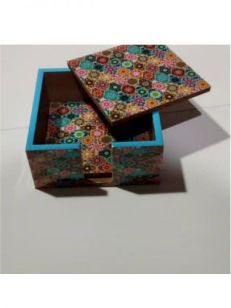 Colorful Coasters in MDF with Enamel finish; Gift Set of 4; RespectOrigins.com