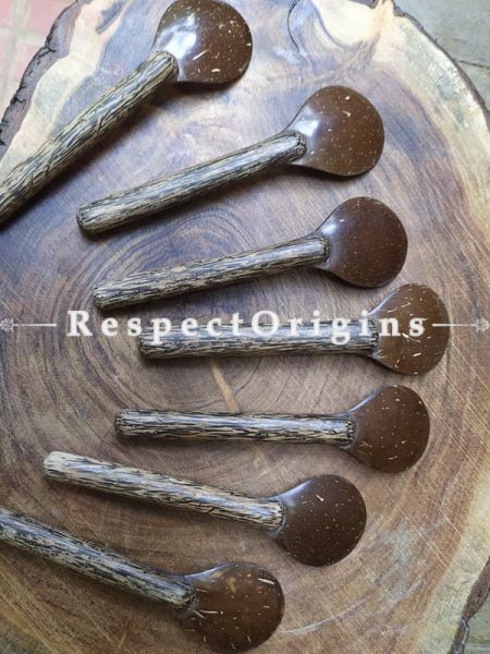 Set of 6 Hand-carved Spoons; Wood and Coconut Shell, RespectOrigins.