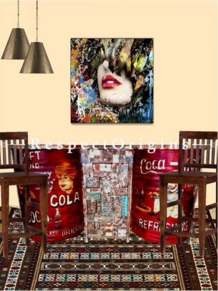 Buy Coke Retro Distressed Finish Bar Set with Stools Hand-painted; Reclaimed Wood At RespectOrigins.com