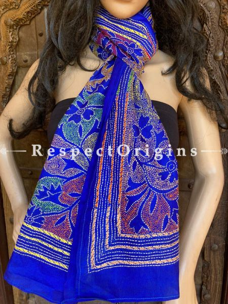 Purple Colourful Kantha Embroidered Silk Stole, Scarf Gift; RespectOrigins.com