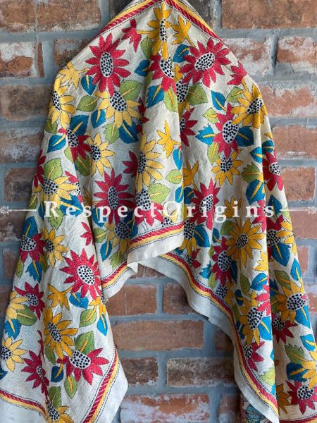 Colourful Cream Kantha Embroidered Silk Stole, Scarf Gift; RespectOrigins.com