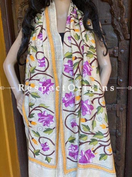 Colourful Ivory Kantha Embroidered Silk Stole, Scarf Gift; RespectOrigins.com