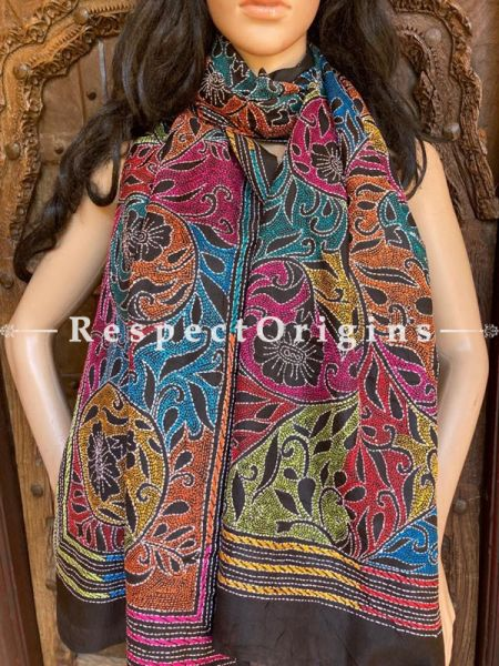Colourful Black Kantha Embroidered Silk Stole, Scarf Gift; RespectOrigins.com