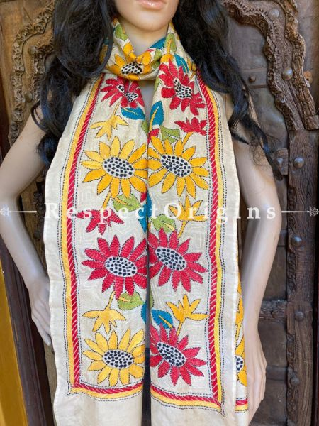 Colourful Kantha Embroidered Cream Silk Stole, Scarf Gift; RespectOrigins.com