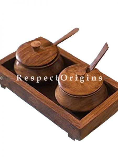 Buy Set of Condiments Jars With Tray; Wood; 8x4 At RespectOrigins.com