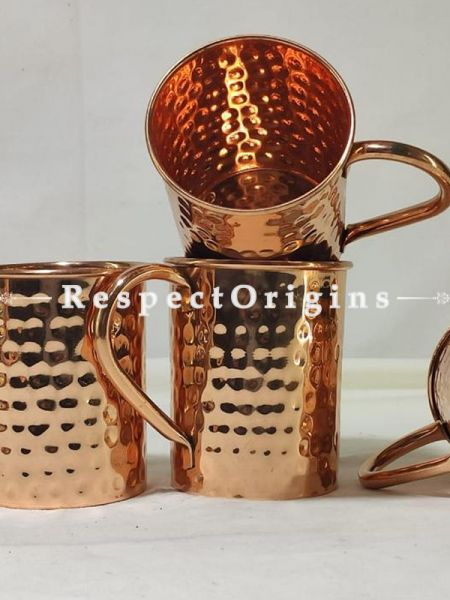 Set of 4 Copper Mug Inside Nickel, Hammered Design, Beer Moscow Mule Mug Cup, Barware; RespectOrigins.com