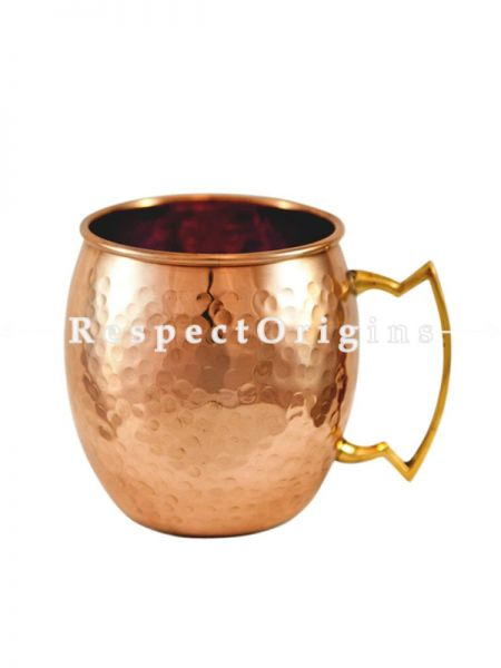 Copper Beer Mug Inside Nickel, Hammered Design, Beer Moscow Mule Mug Cup, Barware; RespectOrigins.com