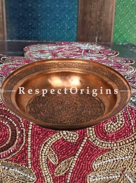 Buy Round Hand carved Chinar Designer Copper Plate At RespectOrigins.com