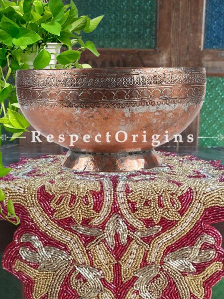 Buy Copper Bowl With Moghul Style Engraving with a Round Base At RespectOrigins.com