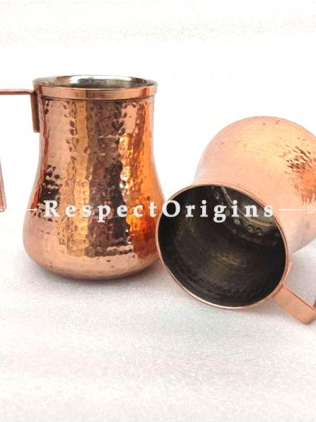 Set of 2 Handmade Pure Copper Water Mug Hammered Leak Proof Ayurvedic Health Benefits Ideal for Home, Barware ; RespectOrigins.com