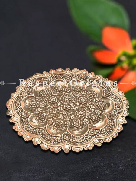 Buy ornate Copper Oval Serving Tray Platter With Decorative Scalloped Edges At RespectOrigins.com
