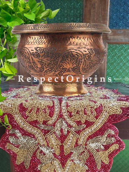Buy Copper Pot ornate Carved Leafy Pattern On Round Stand At RespectOrigins.com