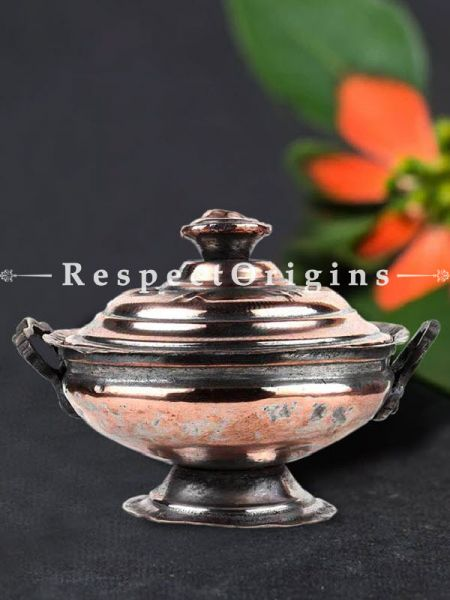 Buy Handmade Copper Sugar Bowl With Lid and Circular Base and Stand At RespectOrigins.com