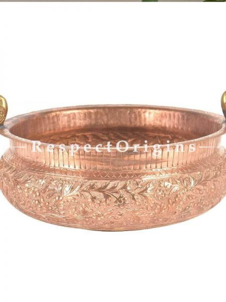 Buy Round Copper Urli With Brass Peacock Handle With Fine Engraving At RespectOrigins.com