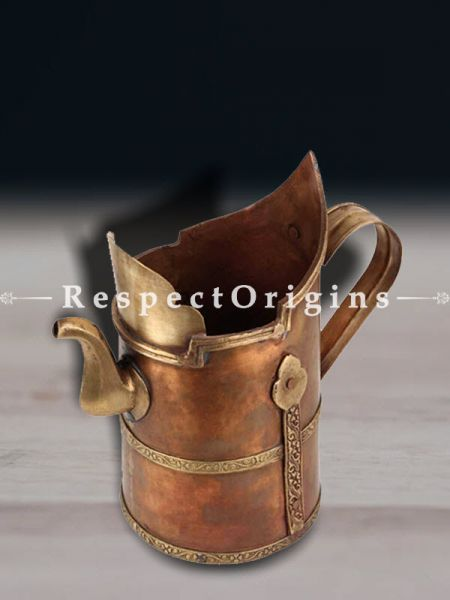 Buy Majestic Copper and Brass Tea Pot With Lovely Carved Bands At RespectOrigins.com