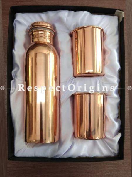 Wellness Pure Copper Hammered Water Bottle n 2 Glasses  Gift Set Boxed 1000Ml; RespectOrigins.com