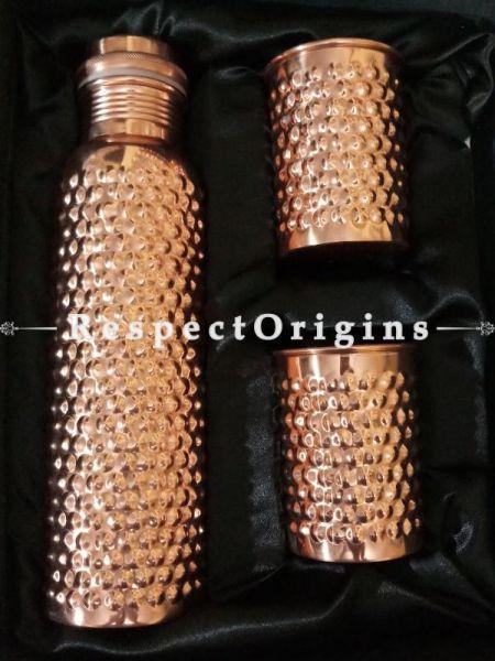 Pure Copper Hammered Water Bottle n 2 Glasses  Gift Set Boxed 1000Ml; RespectOrigins.com