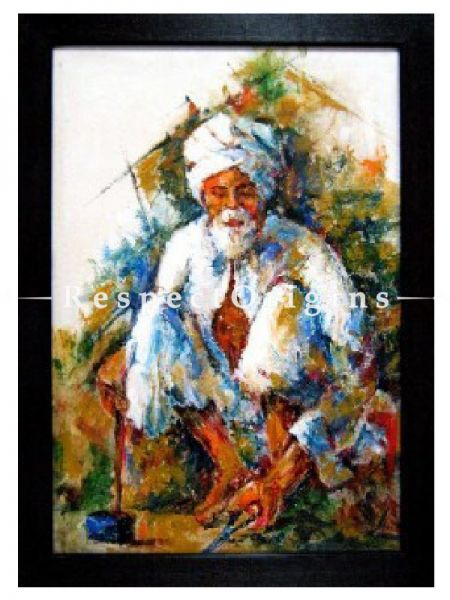 Buy Oil & Acrylic Colors Handcrafted Canvas The Old Man Paintings